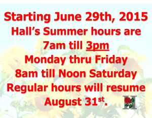 2015 Summer hours