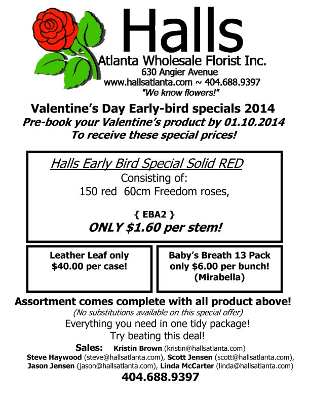 Early bird RED Halls valentines flyer 2014