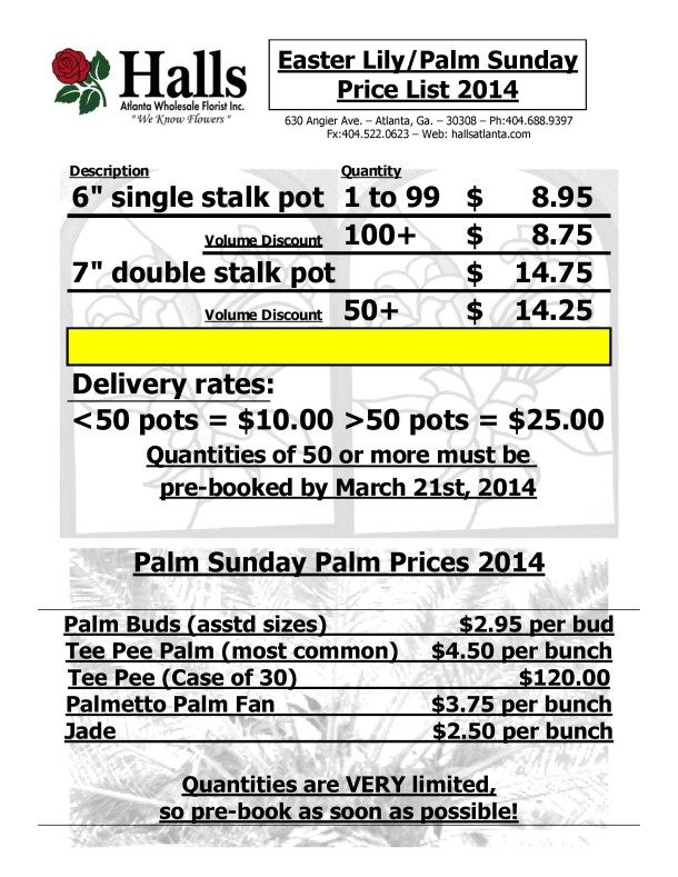 Easter Lily.Palm Sunday Price List 2014