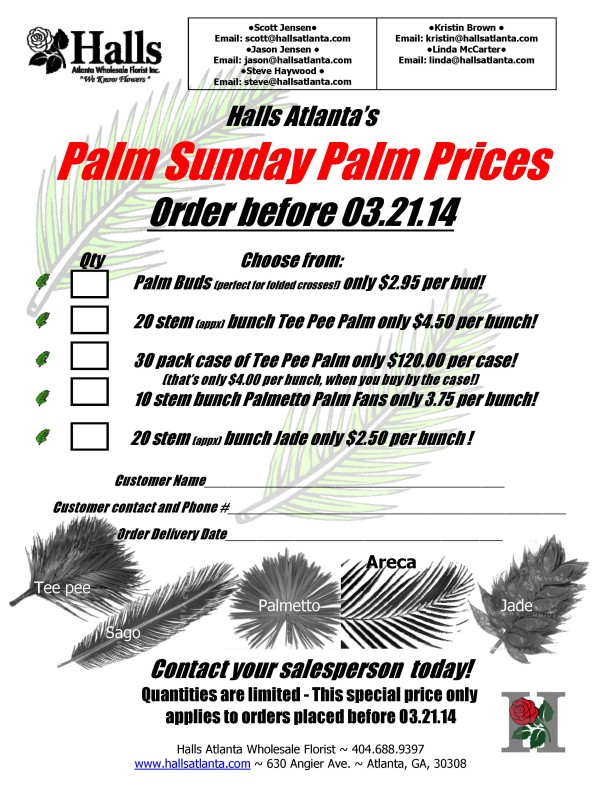 Palm sunday special flyer Halls 03.21.14